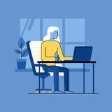 Vector illustration - woman working sitting at the desk with lap Royalty Free Stock Image