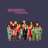 Vector illustration of women community with a large group of girls and women. feminist concept Stock Photography