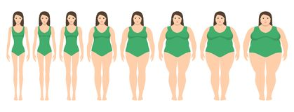 Vector illustration of women with different weight from anorexia to extremely obese. stock illustration