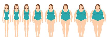 Vector illustration of women with different weight from anorexia to extremely obese. royalty free illustration
