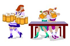 People in traditional Octoberfest costumein flat design. Vector illustration of women drinking beer and woman holding a lot of beer mugs. They are wearing in Stock Photos
