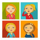 Vector Illustration of women faces. In cartoon style Stock Image