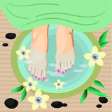 Vector illustration of women feet pedicure in flat style Royalty Free Stock Photo