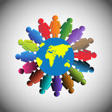 Vector Illustration of Women Holding Together, Concept of Teamwork, Unity, women empowerment Royalty Free Stock Images