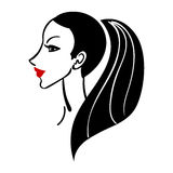 Vector illustration of women long hair style icon. Logo woman face on white background for beauty salon Royalty Free Stock Images
