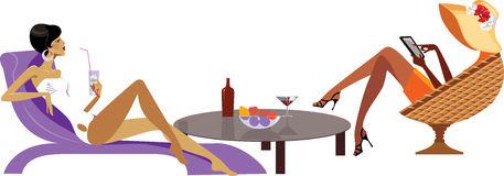 Vector illustration of women on rest. In chair Royalty Free Stock Images