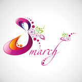 Vector illustration of Women's Day 8 March beautiful logotype for your design Stock Image