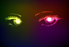 Vector illustration. Women's eyes. Stock Images