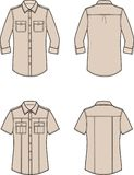 Shirt in military style. Vector illustration of women`s shirt. Front and back. Clothes in military style royalty free illustration