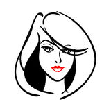 Vector illustration of women short hair style icon. Logo woman face on white background for beauty salon Stock Photo