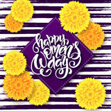 Vector illustration of womens day card with lettering - happy 8 march with chrysanthemum flowers and rhombus Royalty Free Stock Images