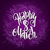 Vector illustration of womens day card with lettering - happy 8 march, frame from doodle branches Royalty Free Stock Image