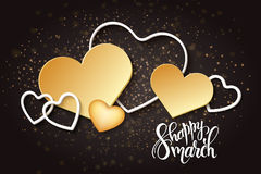Vector illustration of womens day card with lettering - happy 8 march, a lot of gold hearts Royalty Free Stock Images