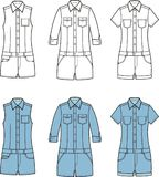Jean overalls set Royalty Free Stock Photo