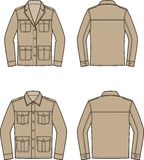 Jacket in military style. Vector illustration of womens and mens jacket. Front and back. Clothes in military style vector illustration