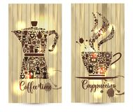 Vector illustration on wood background of coffee related shapes with coffee icons. Vector illustration on wood background of coffee related shapes with coffee Royalty Free Stock Photography