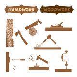 Vector illustration wood work hand tools silhouette set with shown working process and sign boards with words Handwork Royalty Free Stock Image