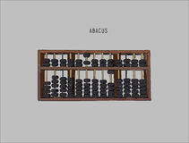 Vector illustration wooden abacus with black beads. Traditional counting frame. Abacus icon stock illustration