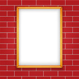 Vector Illustration Wooden Blank Picrute On Brick Wall Seamless Background. For Your Text Stock Photography
