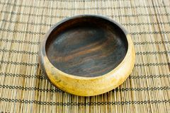 Vector illustration of wooden bowl. Closeup design wooden bowl on wooden tray background Stock Photography