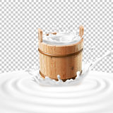 Vector illustration of a wooden bucket with milk standing in the center of a dairy splash. stock illustration