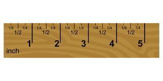 Wooden inch ruler. Vector illustration of wooden inch ruler Stock Photography