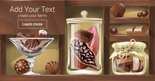 Vector illustration of a wooden rack with chocolate Royalty Free Stock Photography