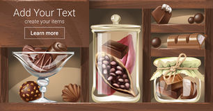 Vector illustration of a wooden rack with glass jars, a bowl filled with chocolate candy, pieces of chocolate. Bar, fruit of cocoa tree. Template, design stock illustration