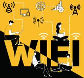 Word concept Wifi and people doing things vector illustration
