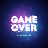 Vector Illustration word Game Over - Play Again in cyber noise glitch design. For games, banner, web pages. Three color half-shift. Vector Illustration cool word royalty free illustration