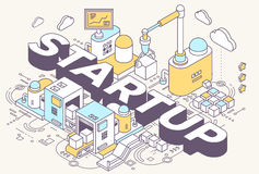 Vector illustration of word startup and three dimensional mechan Stock Image