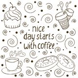 Vector illustration with words `nice day starts with coffee. `, hand drawn coffee cups, glazed doughnuts, cakes with cream and decorations. Restaurant and food royalty free illustration