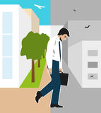 Vector illustration. Worker, man, was fired. Staff reductions due to the financial crisis. Unemployment due to the recession. Downsizing of office people. Loss Royalty Free Stock Photo