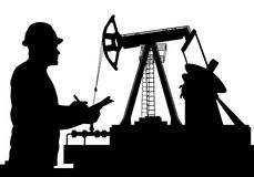 Vector illustration of Worker and Oil Pump silhouettes Stock Photos