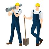 Vector illustration of worker in overalls and protective helmet Royalty Free Stock Photo