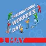Vector illustration of Workers Day. Isometric icons. 1 May greeting card. Labor Day poster with workers men and tools isolated on blue background. May Day Stock Photo