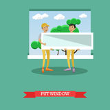 Vector illustration of workers installing plastic window, flat style Stock Photography