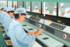 Workers Working in Phone Assembly Factory Illustration. A vector illustration of Workers Working in Phone Assembly Factory Stock Photography