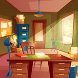 Vector illustration of working space, study room interior. Desktop, place of agency, concept for education, workplace. Vector illustration of working space royalty free illustration