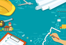 Vector illustration of working table architect Stock Images