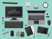 Vector illustration of workplace with computer devices, office objects and business documents Royalty Free Stock Image