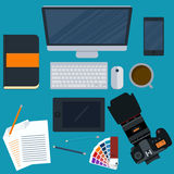 Vector illustration of a workplace designer Stock Photo
