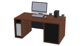 Vector illustration of workplace desk in office or home. Royalty Free Stock Photography