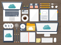 Vector illustration. Workplace, table with documents, computer. Flat cloud computing background. Media, data server. Web. Storage.CD. Paper blank Digital Stock Photography