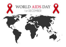 Vector illustration of world aids day. World map Stock Photos