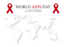 Vector illustration of world aids day. World map Royalty Free Stock Images