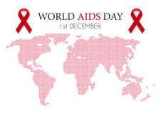 Vector illustration of world aids day. World map Stock Photo