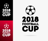 Vector Illustration world football cup 2018 logo isolated on background. Championship cup in Russia banner. Soccer tournament.10 eps Stock Photos