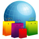 World globe with shopping bags Stock Photos