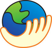 Vector illustration of  the world in hand. Vector illustration of a hand holding the world - the world in your hand concept Stock Photo